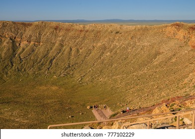 Looking down into Arizona's Meteor Crater along the southern rim.