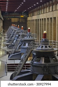 Looking down the line of HydroElectric Generators
