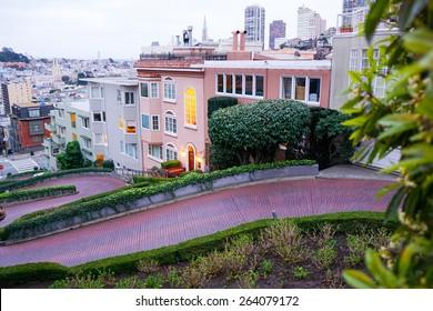 Looking down Lombard street, San Francisco at dusk.