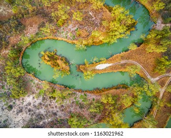 Looking down at magnificent meandering Murray River. Riverland, South Australia, aerial view.