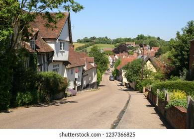 Looking down the main street in Kersey, Suffolk