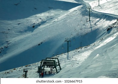 looking down at the mount Dobson ski field chair lift on a quiet day