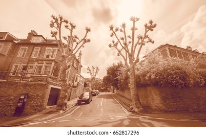 Looking Down Narrow Street in Redland Bristol England Long Exposure Photography Motion Blur Sepia Tone
