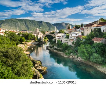Looking down the Neretva river to the Mostar bridge in Bosnia and Herzegovina