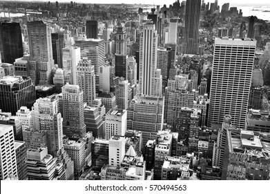 Looking down at New York buildings