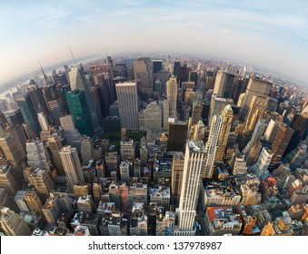 Looking down at New York City, North direction to the Central Park, wide angle