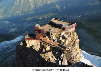 Looking down on Aiguille Du Midi cable car station, Chamonix, France