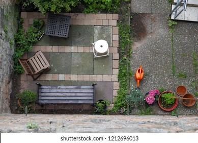 Looking down on a backyard
