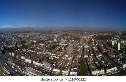 Looking down on the Brighton, UK, town centre.  Brighton is one of the UKs top holiday destinations with top attractions like pier, donkey rides, first electric train and 400' skyride