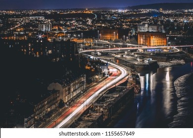Looking down on Bristol at night