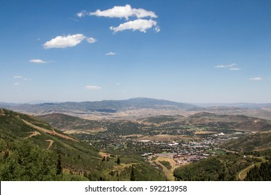 Looking down on the city of Park City, Utah