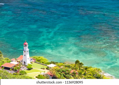 Looking down on the Diamond Head lighthouse in Honolulu, Hawaii.