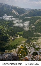 Looking down on Fuente DŽ, the base for the cable car up to the Portal de Picos, Cantabria, Spain.