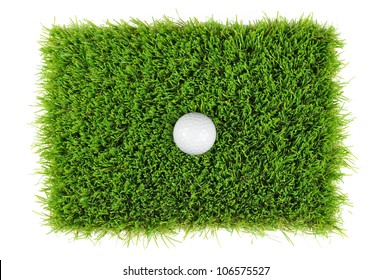 looking down on a golf ball in the grass