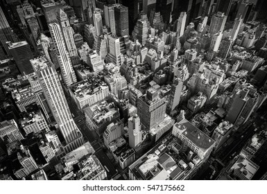 Looking down on old New York skyscrapers