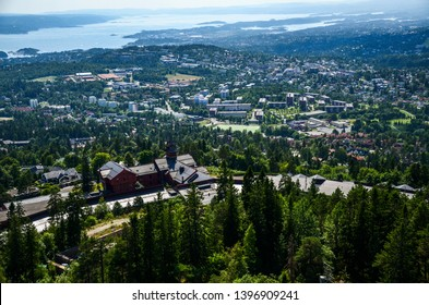 Looking down on Oslo, Norway, from the Holmenkollen area, high above the main part of the city, Oslofjorden.