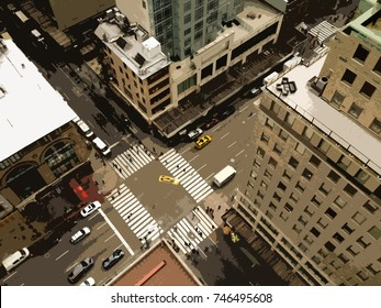Looking down on the streets of Manhattan from a tall skyscraper. Bird's eye view of New York, busy intersection with yellow taxi cabs. Looking down on 5th Avenue, illustration from photo.
