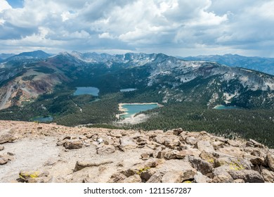 Looking down on a valley with the sub-alpine lakes of Twin, Mamie, Mary, George, and Horseshoe from the top of Mammoth Mountain, California