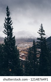 Looking down onto the old mining town of Silverton, Colorado, during the first snow of the fall
