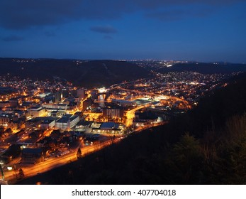 Looking down over the city of Johnstown, Pennsylvania at night.