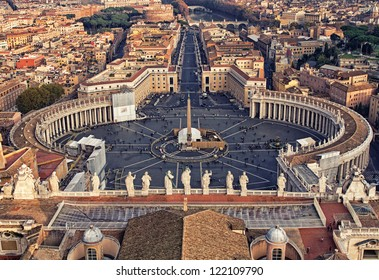 Looking down over Piazza San Pietro in Vatican City