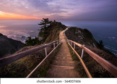 Looking down the path towards the Muir Beach Overlook during a beautiful sunrise.