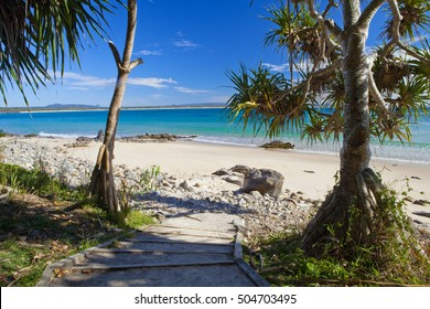 Looking down a pathway towards the beach at Noosa National Park
