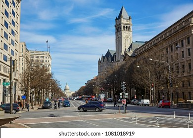 Looking down Pennsylvania Avenue with the Post office building and the US Capitol building in Washington dc