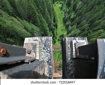 Looking down from a railroad trestle bridge along the Hiawatha Trail in Idaho