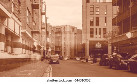 Looking Down Redcliff Street Bristol England, Sepia Tone Long Exposure Motion Blur Effect