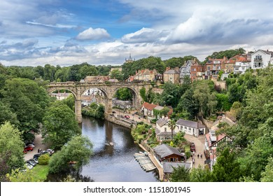 Looking down the River Nidd to Knaresborough in Yorkshire