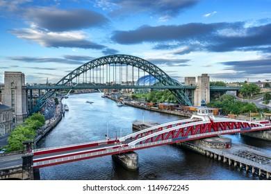 Looking down the River Tyne to the Swing Bridge and Millenium bridge between Newcastle and Gateshead
