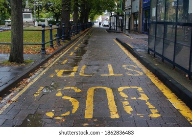 looking down the road with bus stop and cycle lane markings near the war memorial in BOSTON UK, August 2020: