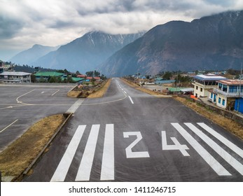 Looking Down the Runway of Lukla (Tenzing Hilary) Airport in Nepal