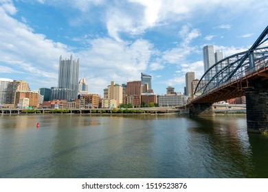 Looking Down the Smithfield Bridge and Adjacent Cityscape of Downtown Pittsburgh, Pennsylvania
