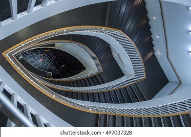 Looking down from the top on a staircase