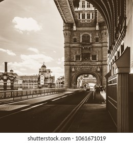Looking Down Tower Bridge London, Sepia Tone High Contrast Photography