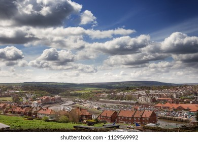 looking down at the town of whitby in york england