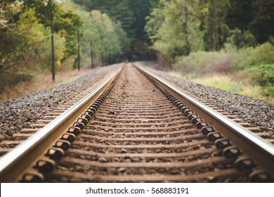 Looking down the tracks. Railroad tracks in lush forest area of the Columbia River Gorge, Washington, USA.