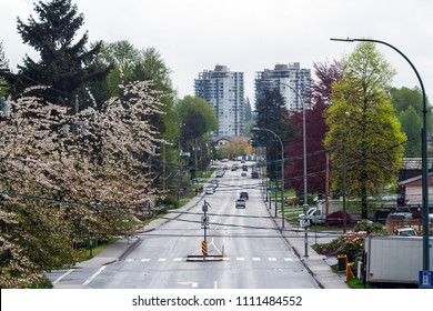 Looking down the tree-lined road on main street of Port Moody, outside of Vancouver, BC on an overcast day