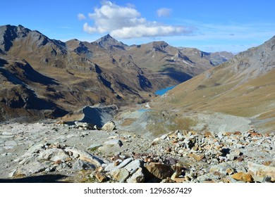 Looking down the Val d'Anniviers with the Sasseneire and Diablorons mountains above the Moiry Dam, near to Griments in the Southern Swiss Alps