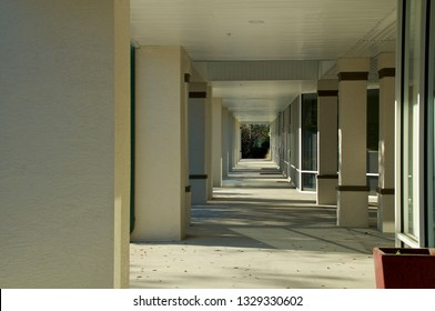 looking down walkway in front of generic florida strip mall with shop doors on the right and columns on the left.