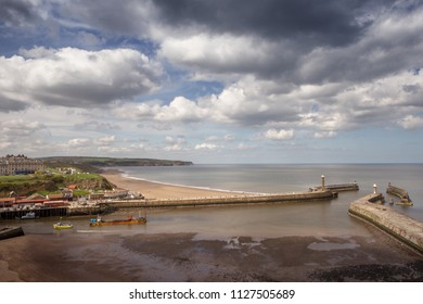 Looking down at whitby, seaside town in Yorkshire, northern England