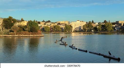 Looking east across Lake Merritt, Oakland, California.