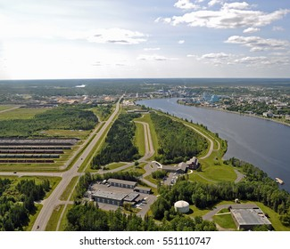 Looking East Into International Falls, Minnesota and Fort Frances, Ontario, Canada Following Rainy River - Ariel View - Koochiching County