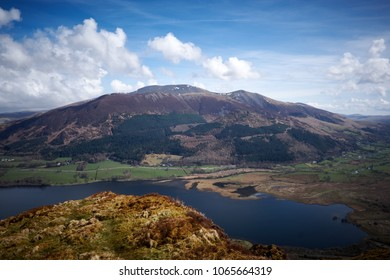 Looking east from Lord's Seat across Barf and Bassenthwaite lake toward Skiddaw in the Northern Lake District, Cumbria. UK.