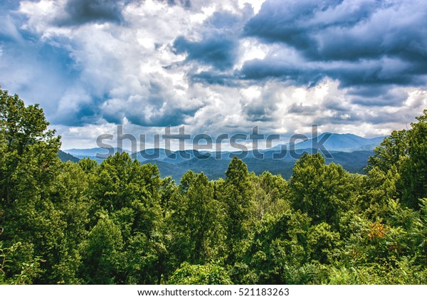 Looking east from Newfound Gap, Tennessee.