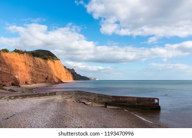 Looking East from Sidmouth Beach to Salcombe Hill cliff and Beer Head.