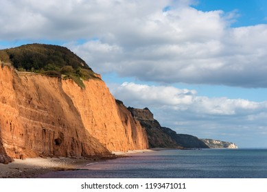 Looking East from Sidmouth Beach to Salcombe Hill Cliff, Higher Dunscombe Cliff and Beer Head.