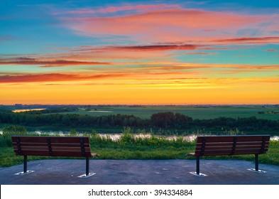 Looking East at sunrise over the South Saskatchewan River near Saskatoon, Saskatchewan. In the Meewasin Valley.